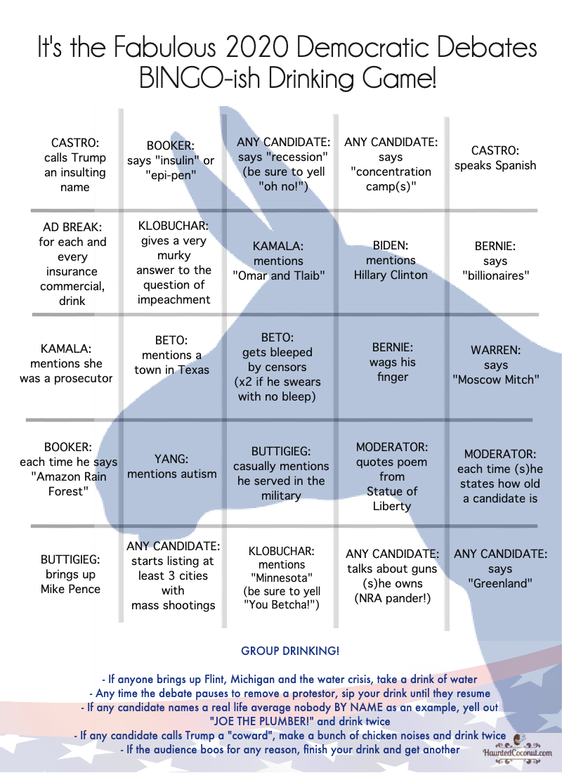 2020 Democratic Debate Drinking Game - CARD B